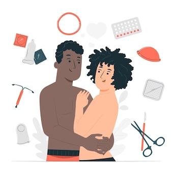 Illustration de concept de méthodes de contraception