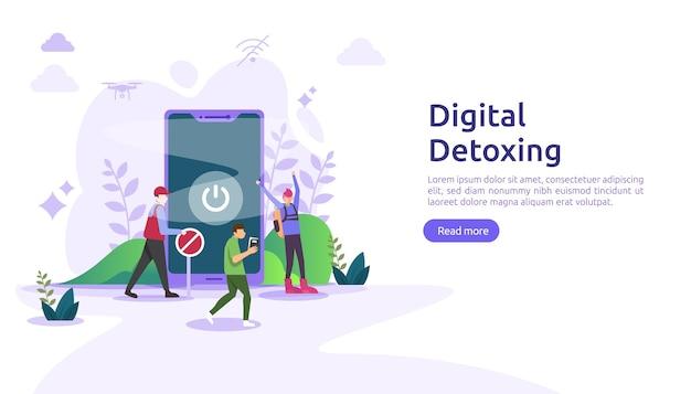 Illustration de concept de mode de vie de désintoxication numérique