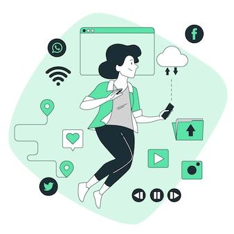 Illustration de concept de mode de vie numérique