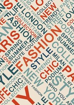 Illustration de concept de modèle de mots de style et de mode