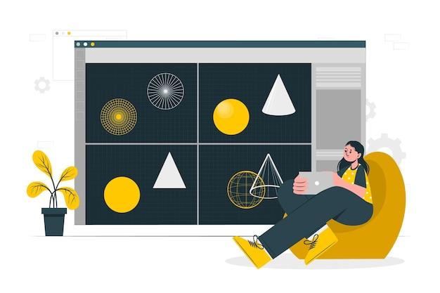 Illustration de concept de modélisation 3d