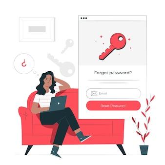 Illustration de concept de mot de passe oublié