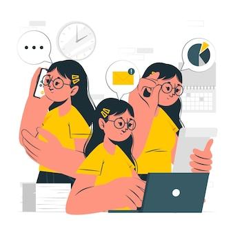 Illustration de concept multitâche