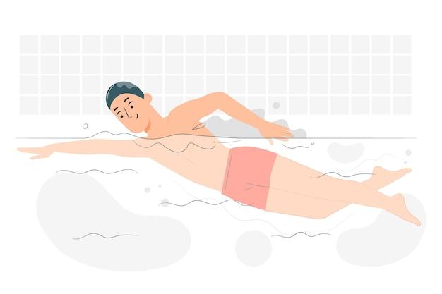 Illustration de concept de natation