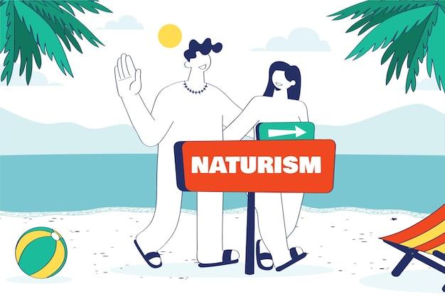 Illustration de concept de naturisme design plat