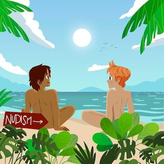 Illustration de concept de naturisme de dessin animé