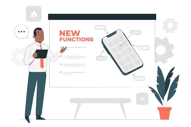 Illustration de concept de nouvelles fonctions
