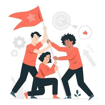 Illustration de concept d'objectifs d'équipe