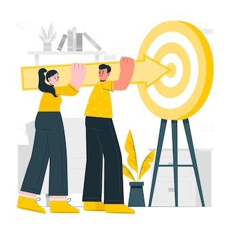 Illustration de concept d'objectifs partagés