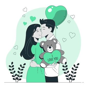 Illustration de concept d'ours en peluche saint valentin