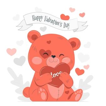 Illustration de concept d'ours en peluche de la saint-valentin