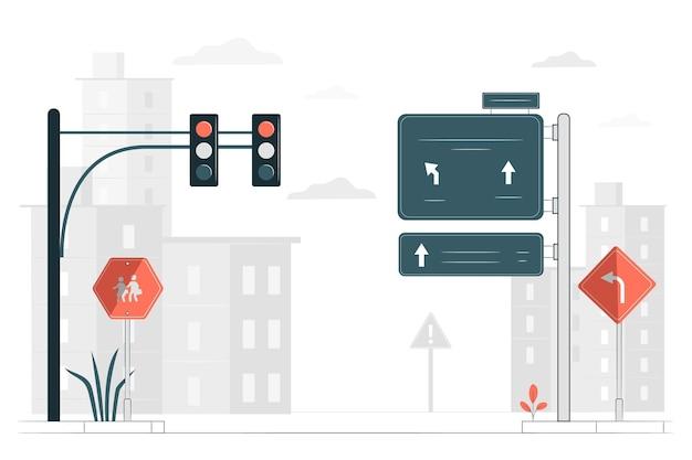 Illustration de concept de panneau routier