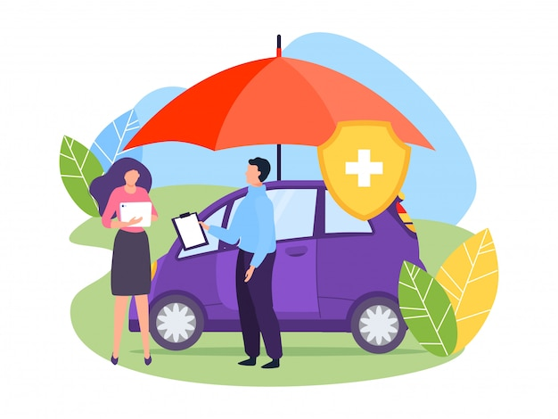 Illustration de concept de parapluie de protection d'assurance automobile. le personnage de l'agent détient un document confirmant l'accord de conclusion.