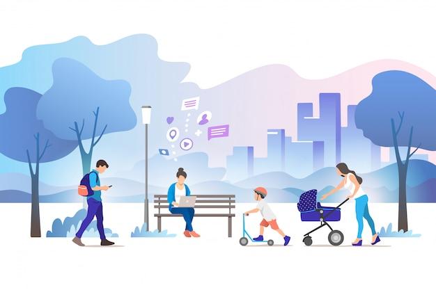 Illustration de concept de parc de la ville.