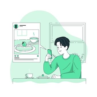 Illustration de concept de partage social