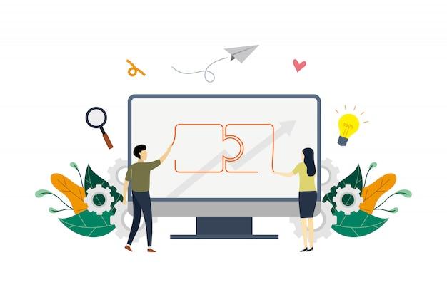 Illustration de concept de partenariats d'affaires