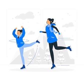 Illustration de concept de patinage sur glace