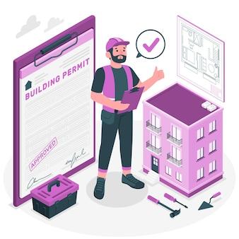 Illustration de concept de permis de construire