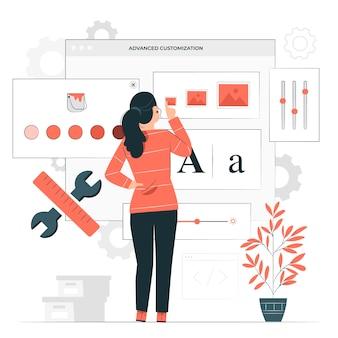 Illustration de concept de personnalisation avancée