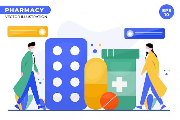 Illustration de concept de pharmacie pour la page de destination