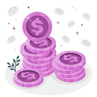 Illustration de concept de pièces de monnaie