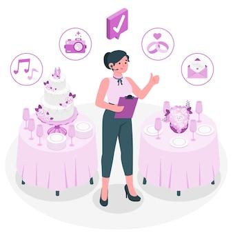 Illustration de concept de planificateur de mariage