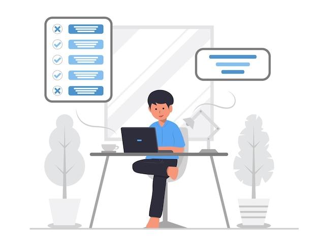 Illustration de concept de planification ou de réalisation de liste de tâches