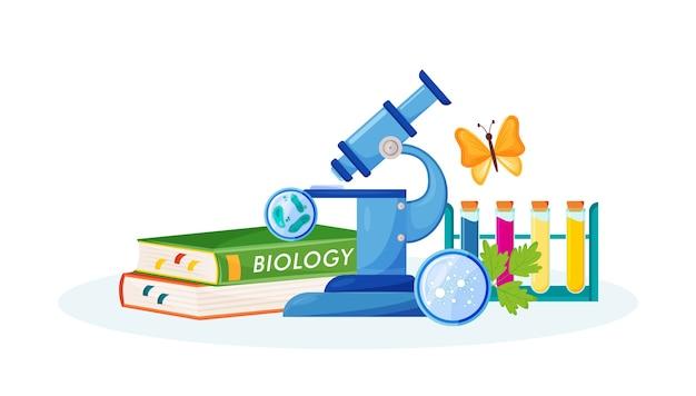 Illustration de concept plat de biologie. matière scolaire. analyse en laboratoire. métaphore des sciences naturelles. cours pratique. cours universitaire. manuel de l'élève et objets de laboratoire objets de dessin animé 2d