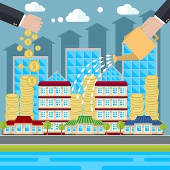 Illustration de concept plat créatif de vecteur d'investissement intelligent, arrosage d'argent, augmentation, immobilier, pour affiches et bannières