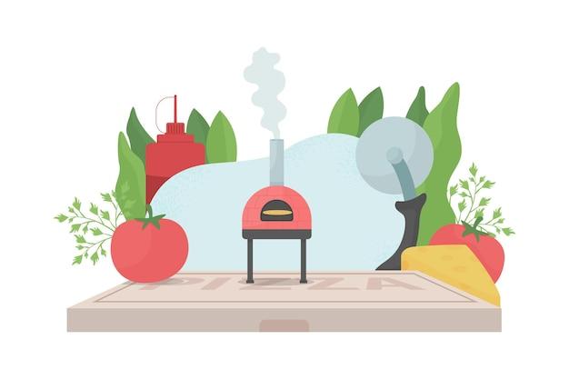 Illustration de concept plat de cuisine pizza