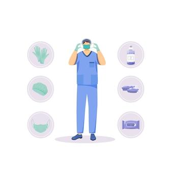 Illustration de concept plat de produits d'hygiène médicale