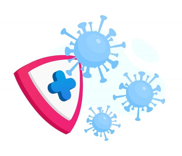 Illustration de concept plat de protection contre les coronavirus