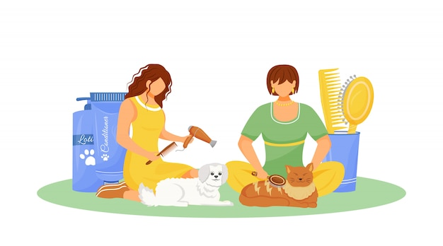 Illustration de concept plat de toilettage pour animaux de compagnie