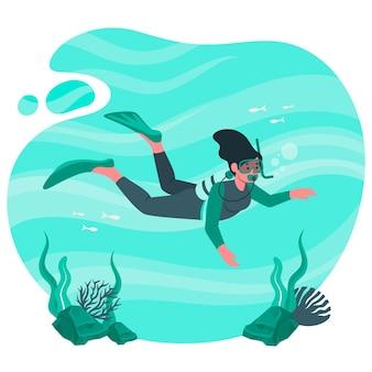 Illustration de concept de plongée