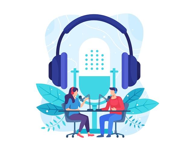 Illustration de concept de podcast