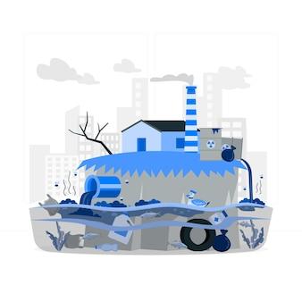 Illustration de concept de pollution de l'eau