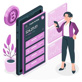 Illustration de concept de portefeuille crypto