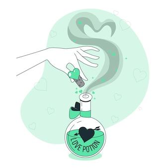 Illustration de concept de potion d'amour