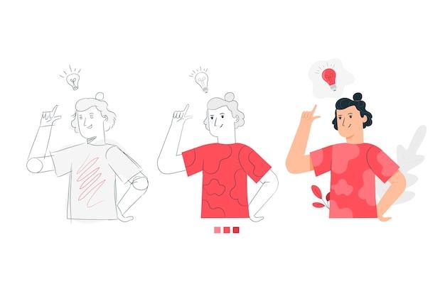 Illustration de concept de processus de création