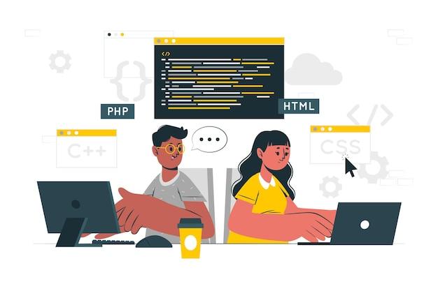 Illustration de concept de programmation par paire