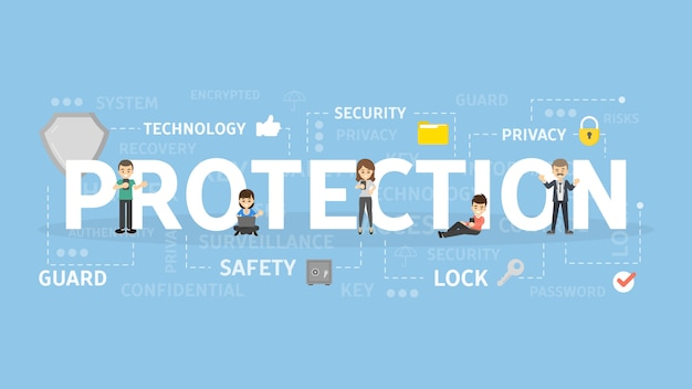 Illustration de concept de protection.
