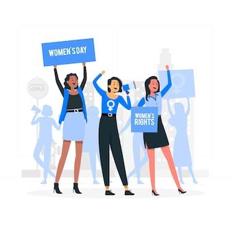 Illustration de concept de protestation de la journée des femmes