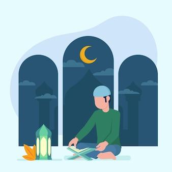 Illustration de concept de ramadan plat organique