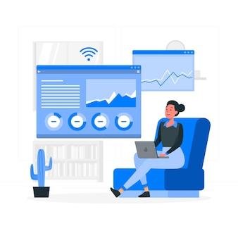 Illustration de concept de rapport en ligne