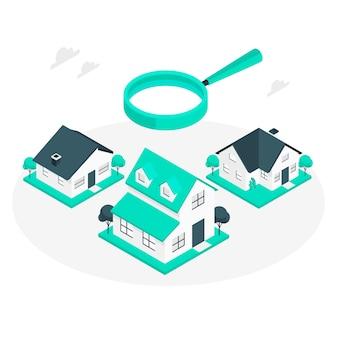 Illustration de concept recherche maison