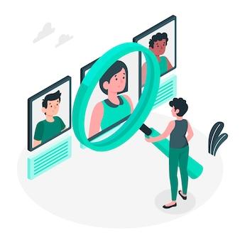 Illustration de concept de recherche de personnes