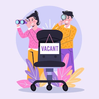 Illustration de concept de recrutement avec place vacante