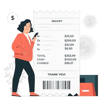 Illustration de concept de reçu