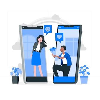 Illustration de concept de rencontres en ligne