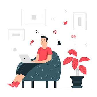 Illustration de concept de réseautage social